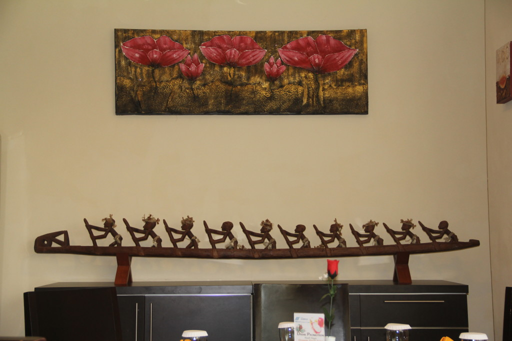 Nice canoe carving in breakfast room at Royal Mamberamo Hotel