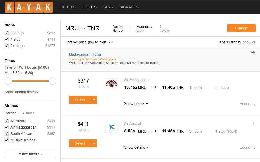 Flights MRU-TNR