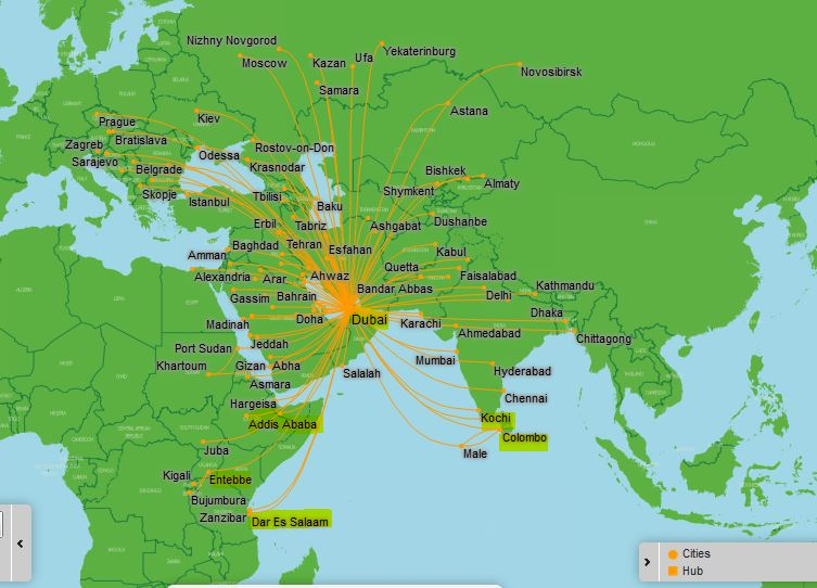 FlyDubai map
