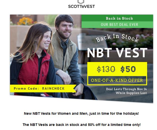 How to use a SCOTTeVEST coupon Take advantage of a limited-time offer to apply a promo code to save 25% off a featured SCOTTeVest item. Use online coupons to save $21 on your SCOTTeVEST purchase while the offer lasts%(20).